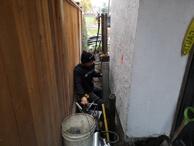 Staff with concrete tools in action
