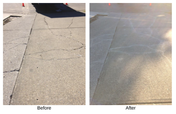 Before and after concrete fix