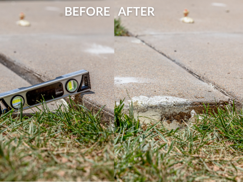 Before and after concrete