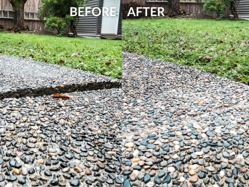 Before and after concrete close up