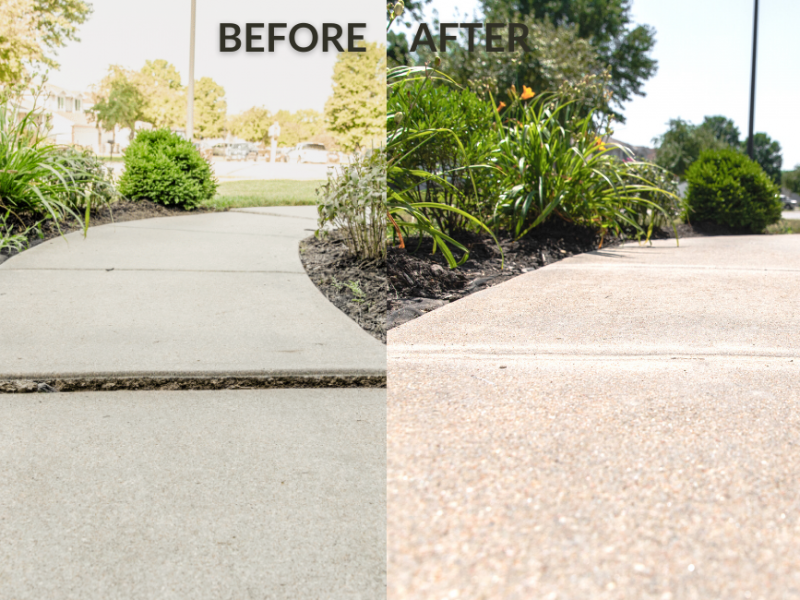 Before and after concrete pathway
