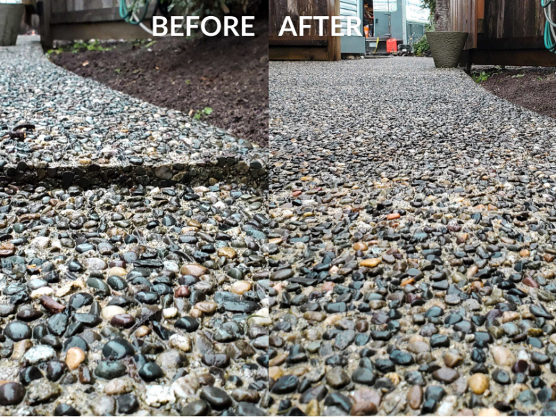 before and after concrete close up view